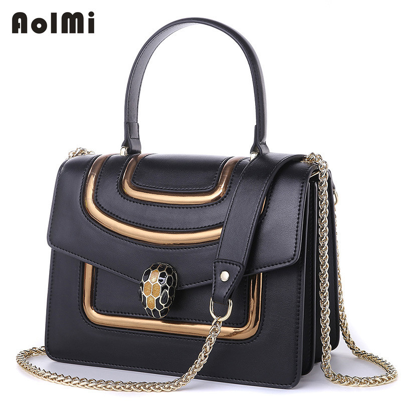 AolMi Luxury Tote Genuine Leather Women Crossbody Messenger Bags Lady Small Flap Bag Women Chain Snake Head Shoulder Bag HandBag free shipping angel flap women fashion tote beading chain shoulder bag handbag messenger bag crossbody purse black red white