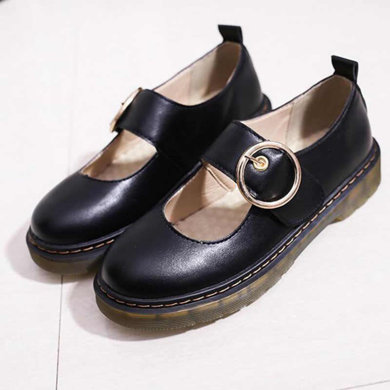 Yeni Moda Yuvarlak Ayak Sığ Kadın Sürüngen Pu Mary Jane Cosplay Kadınlar Flats Platformu Ayak Bileği Kayışı Rahat Bayanlar loafer ayakkabılar