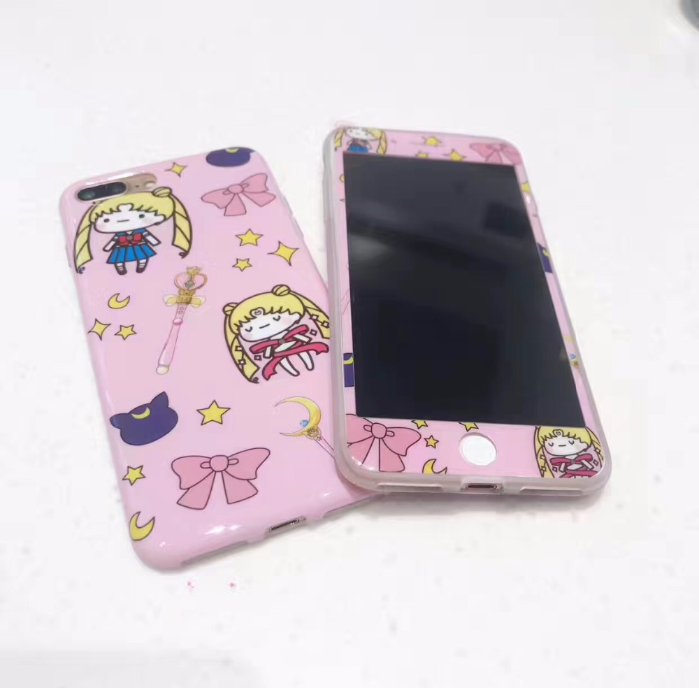best service 1c83a f09e6 US $6.99 |Cartoon Sailor Moon Pink Full Coverage Case 360 for iphone 7 7  Plus 6 6s Plus Cute Cartoon full body Cover with Tempered Glass-in Fitted  ...