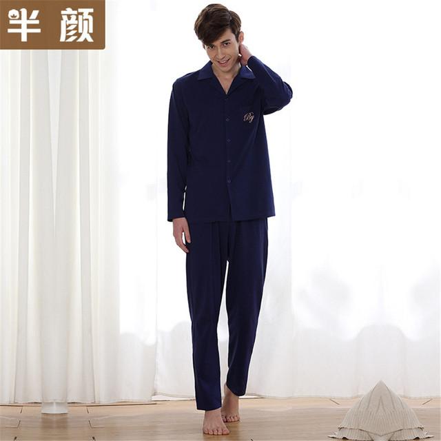 2017 hombres de la Marca de diseño cartas de bolsillo de primavera de punto de manga larga pijamas de algodón pijamas 100% pijamas de algodón hombre azul marino
