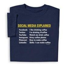 2017 Fashion humorous informal Man Tops tees Funny Social Media Explained T Shirt Facebook YouTube Tee