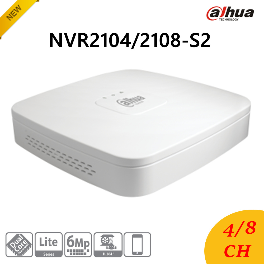 New Dahua NVR2104-S2/NVR2108-S2 4/8 Channel Smart 1U Lite Network Video Recorder English Version H.264+/H.264 HD1080P Up to 6Mp 2014 new arrival dahua smart 1u nvr with p2p mini nvr nvr4104 nvr4108 nvr4116 free dhl shipping