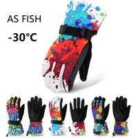 Winter-30 Verdicken Ski Handschuhe Männer Frauen Kinder Winddicht Wasserdicht Einstellbare Snowboard Klettern Schnee Handschuhe