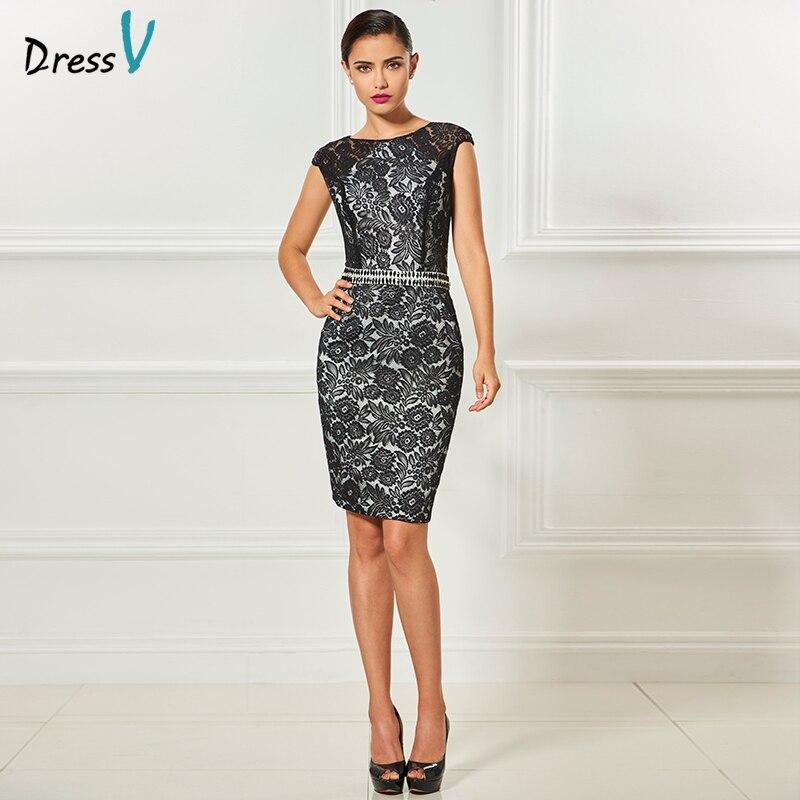 Dressv scoop neck cap sleeves black   cocktail     dress   elegant knee length sheath wedding party formal   dress   lace   cocktail     dresses