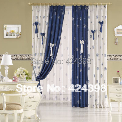 Bag Modern Rustic Window Curtains Blue White Printed Cloth Patchwork Child Real Bedroom Curtain