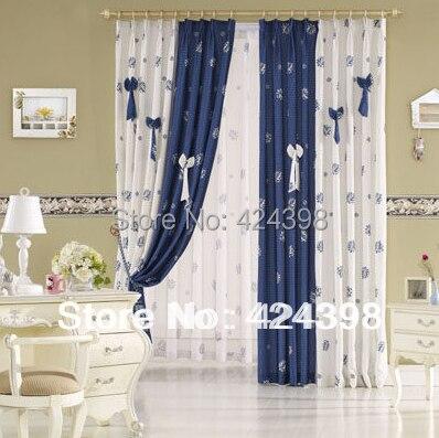 zak moderne rustieke gordijnen blauw wit bedrukt doek patchwork ...