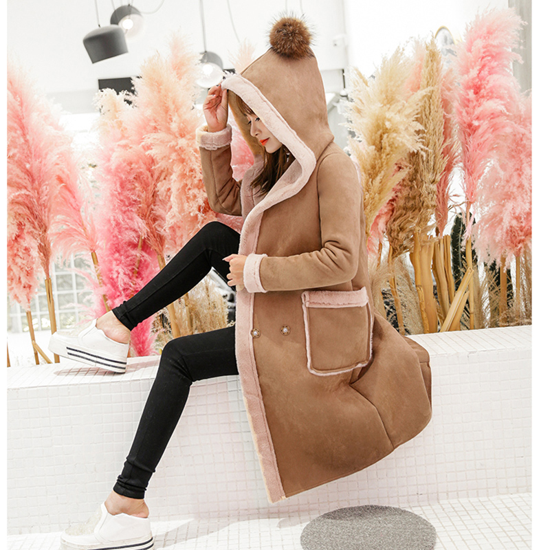 2018 Winter Coat Women Long   Suede   Jacket Lapel Thick Warm Patchwork Coats Women Lamb Wool Hooded Motorcycle Parka YP0680