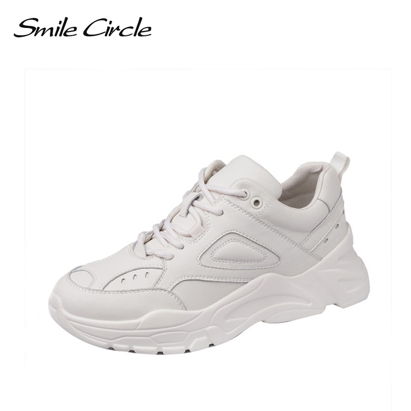 Smile Circle Sneaker for women Flat shoes 2019 Spring new Breathable platform sneaker Outdoor Lace-up Casual Ladies Shoes Smile Circle Sneaker for women Flat shoes 2019 Spring new Breathable platform sneaker Outdoor Lace-up Casual Ladies Shoes