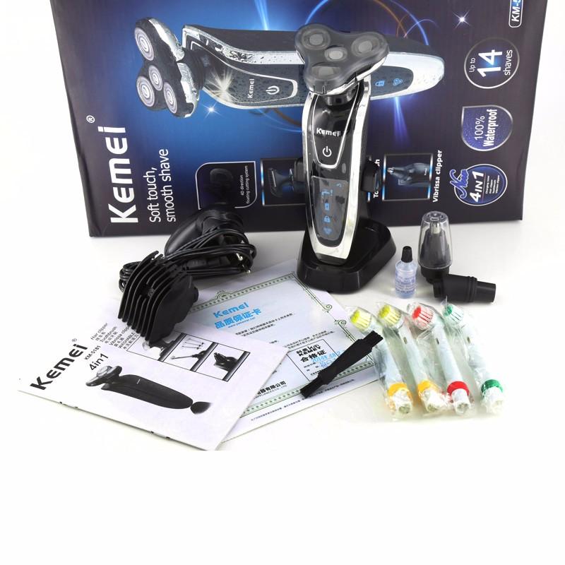 ماكينة حلاقة كهربائية ثلاثية الشفرات للرجال للعناية بالوجه قابلة للغسيل والشحن 2