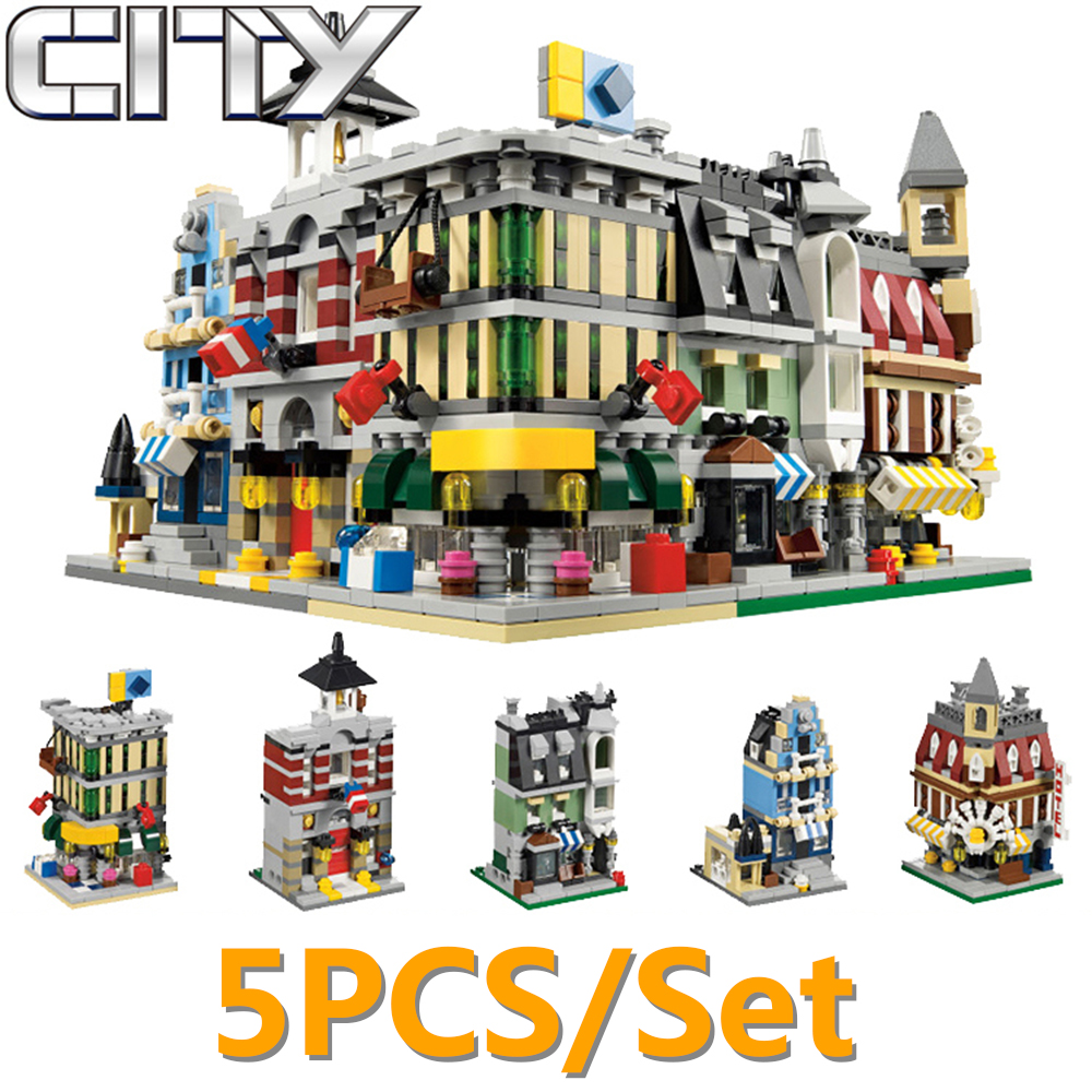 5pcs/set Decool Fire Station Cafe Street View Building Blocks Bricks MOC Toy For Children Compatible With Legoe City Ninjago Toy sytopia fire station fire police children building blocks big size educational toy for baby kid gift toy compatible with duploe