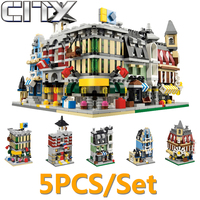 5pcs/set Decool Fire Station Cafe Street View Building Blocks Bricks MOC Toy For Children Compatible With Legoe City Ninjago Toy