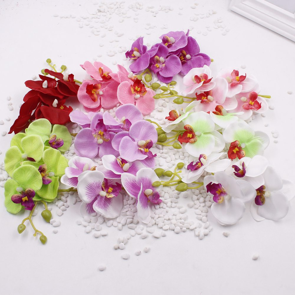 10pcslot mini 15cm artificial silk butterfly orchid flowers bouquet 10pcslot mini 15cm artificial silk butterfly orchid flowers bouquet with peduncle living room coffee dining table arrangements in artificial dried izmirmasajfo