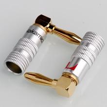 4PCS Gold-Plated 24K Banana Plugs Nakamichi Right Angle 4mm Banana Plug For Video Speaker
