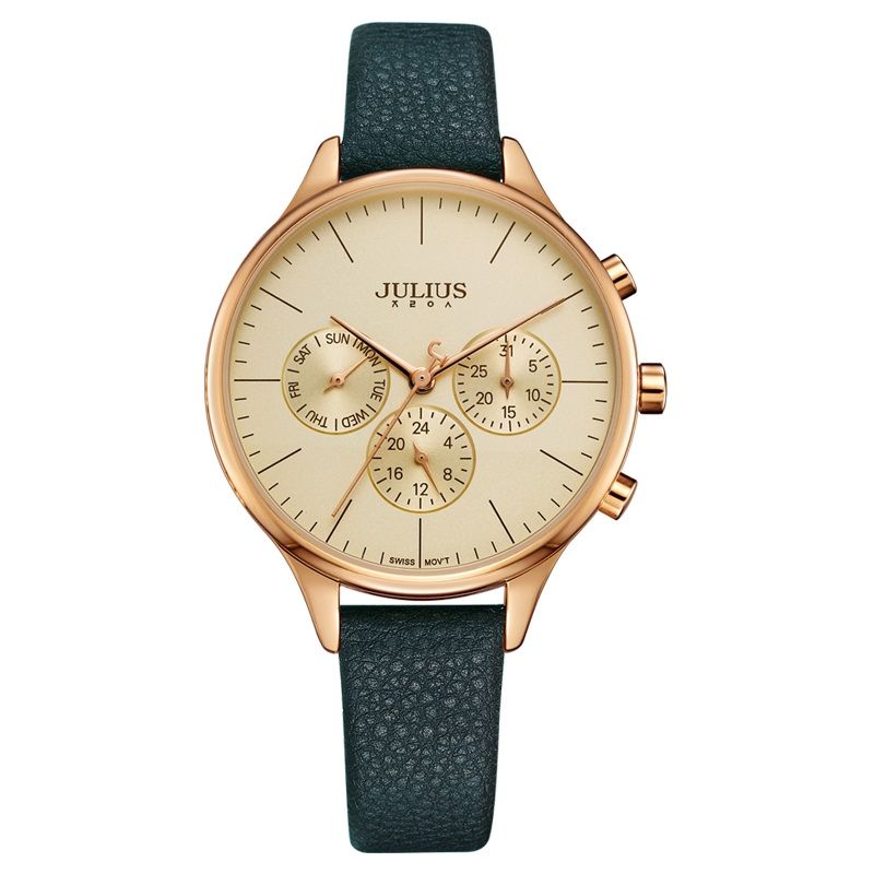 JULIUS Women Luxury Watch Chronograph Week Date Stopwatch Silver Rose Gold Genuine Leather Business Watch OL Gift Whatch JA-952