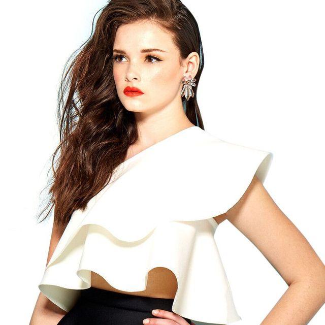 7b34d1d9c55c07 One Shoulder Women Crop Tops White Summer Blouse Femme 2017 Sleeveless  Ladies Slash Neck Shirts Tunic Blusa Mujer