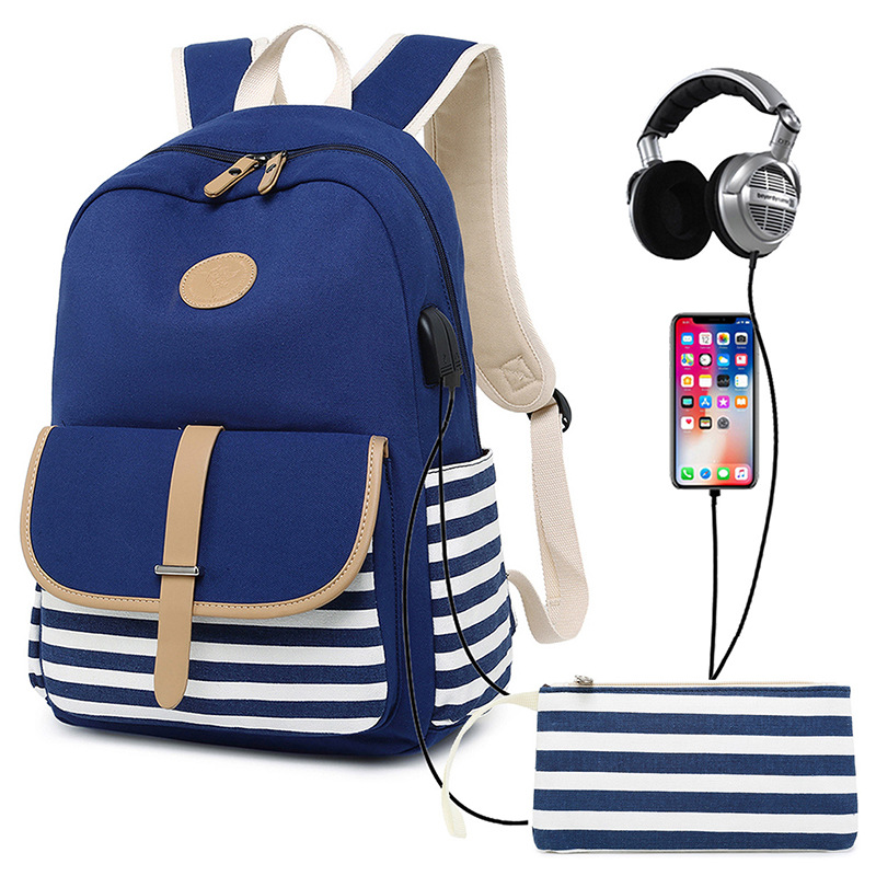 2Pcs/Set Large Backpacks School Teenage Girls Blue Canvas Backpack USB Charge Shoulder Bag Rucksack