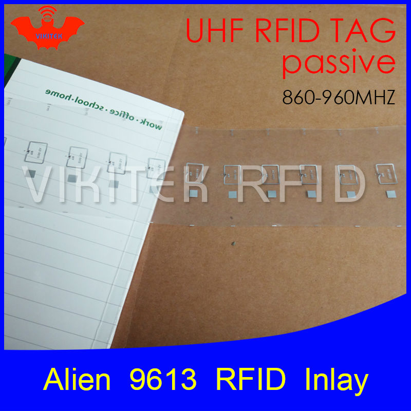UHF RFID tag Alien 9613 inlay 915mhz 900mhz 868mhz 860-960MHZ Higgs3 EPC Gen2 ISO18000-6c smart card passive RFID tags label 500pcs rfid one off coated paper wristbands tag epc gen2 support alien h3 chip used for personnal management