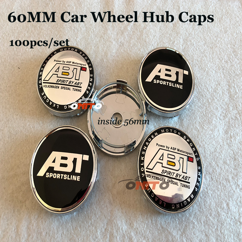 60mm PVC Car Wheel hub center caps for Audi A1 A2 A3 A4 A5 A6 A7 A8 Q1 Q3 Q5 Q7 Car wheel Covers 100PCS WHOLESALE
