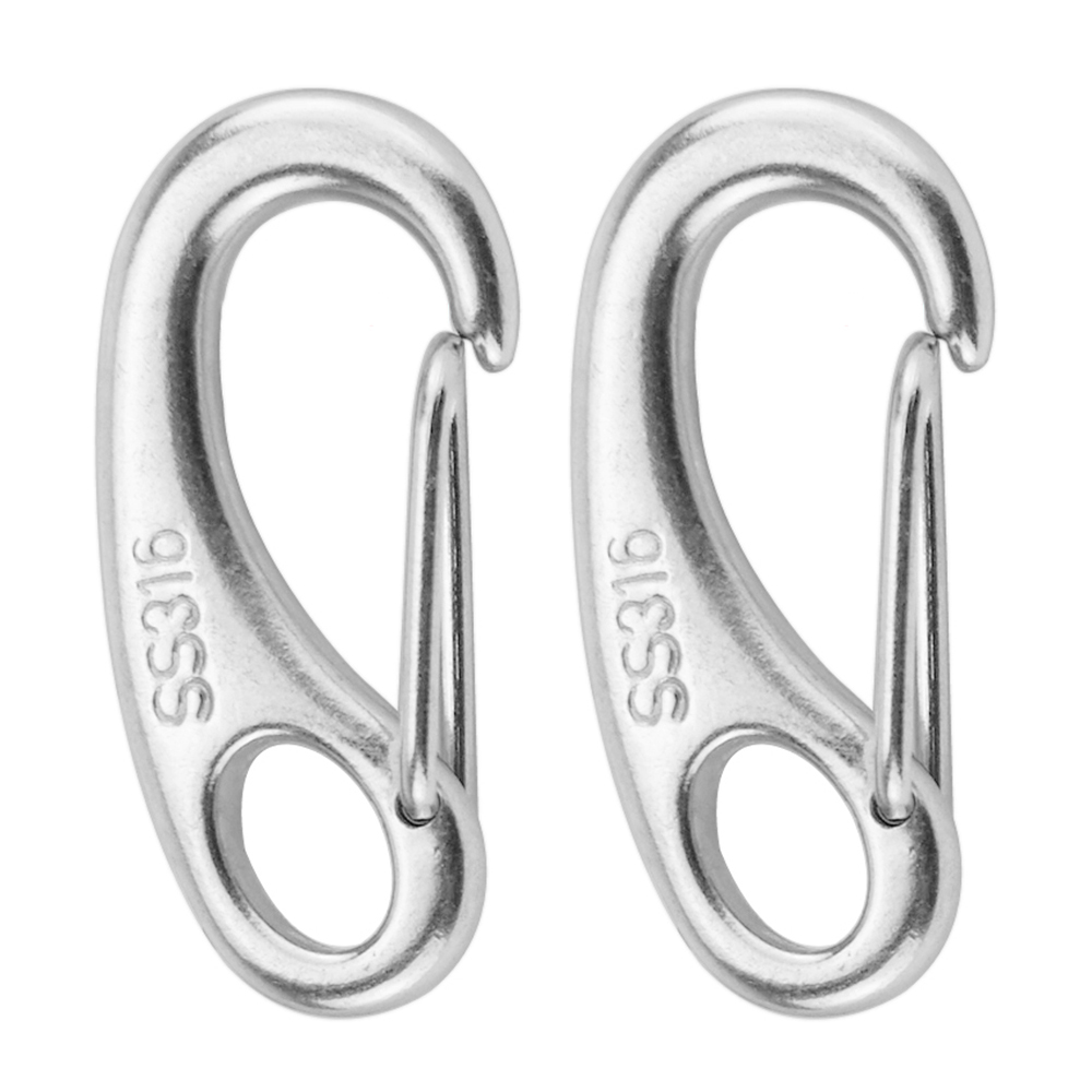 2PCS Stainless Steel Carabiner Spring Snap Hook Clips Quick Link Buckle Eye Clasps Keychain Boat Outdoor Climbing Accessories