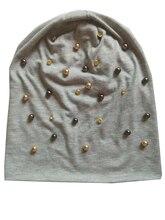 B-17909 Мода 100% хлопок хорошо эластичный золото и коричневый жемчуг и кристалл шапочки панк шляпу дизайн пользовательского