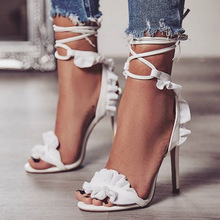 Fashion Summer Women Sandals Ruffle Casual PU Lace Up Thin Heels 11.5CM High Open Toed Shoes Sexy Pumps