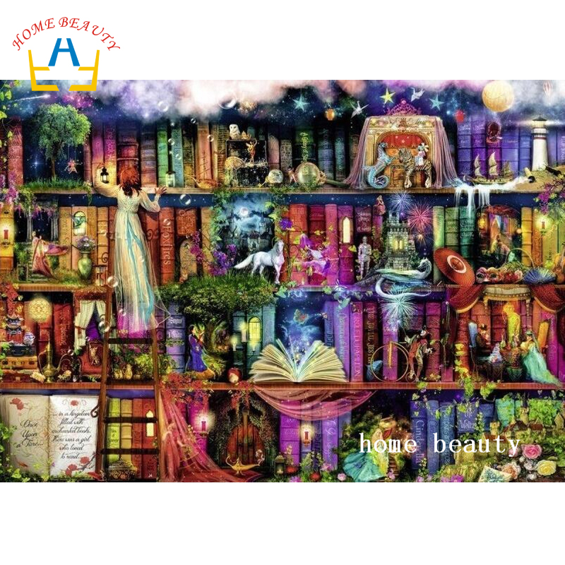 Diy Diamond Painting Fantasy Bookshelf Pictures For Full Square Rhinestones On Canvas Embroidery The Wall Decor AC004 In Cross