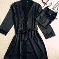 Pijamas Mujer Robe Femme Sexy Подтяжки для Женщин 2017 Рубашки Атласная Девушку Кружева Женщины Пижамы Шелковые Плюс Размер 2 шт черный