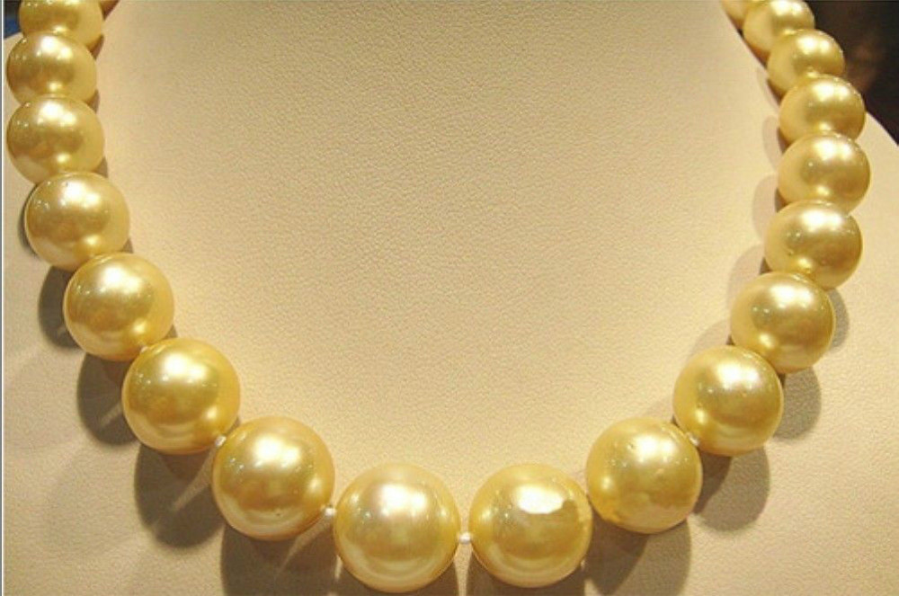 11-13mm AUSTRALIAN SOUTH SEA GOLD PEARL NECKLACE 18''>Selling jewerly free shipping