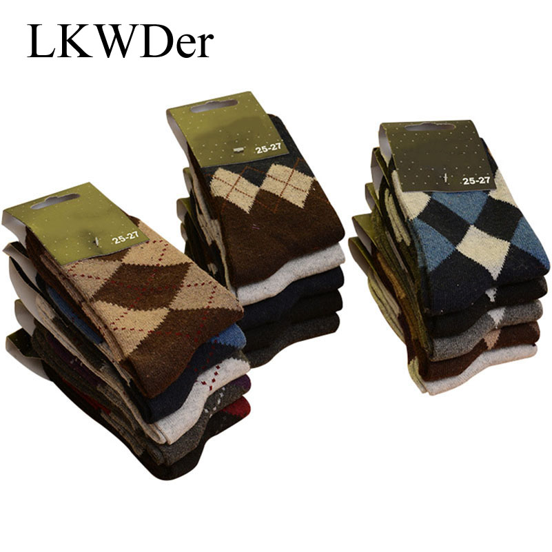 LKWDer 5 Pairs Men's Wool   Socks   Winter Thicken Warm Terry   Socks   Male Comfort Calcetines Business Casual Thermal Cotton   Socks   Men