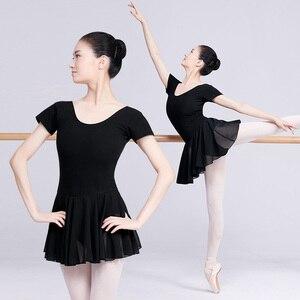 Image 1 - Traje de balé leotards para mulheres, traje de dança adulto, vestido collant de algodão preto com chiffon