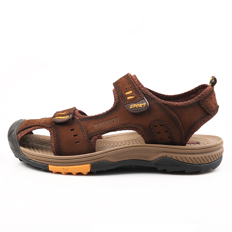 Protect Toe Beach Sandals Men Genuine Leather Sandals Teenager Boy Summer Shoes Flexible Breathable Casual Footwear School Shoes