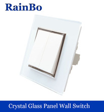 rainbo brand Manufacturer two gangs Luxury crystal glass fashion panel Push button inteligente wall light switch