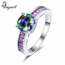 Lingmei Dropshipping Wedding Round Cut Multicolor & White Purple Blue CZ Silver Ring Size 6 7 8 9 New Comes Jewelry