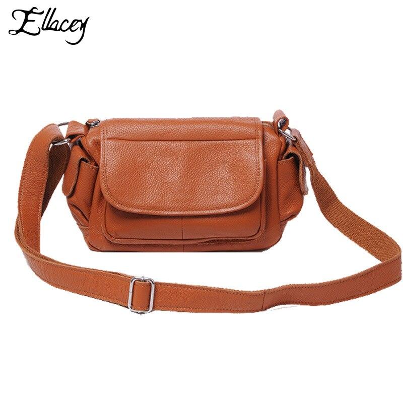 acb7c6469 Ellacey 2019 العلامة التجارية الصغيرة حقيبة المرأة Crossbody حقيبة الإناث  حقيبة يد خمر حقائب كتف السيدات حقيبة جلدية أصلية رفرف