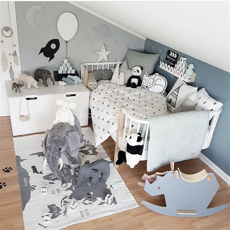INS Exclusive Adventure World Map Carpet 140x90cm Children Game Mat Baby Crawling Mat Rectangle Forest Highway Home Decoration