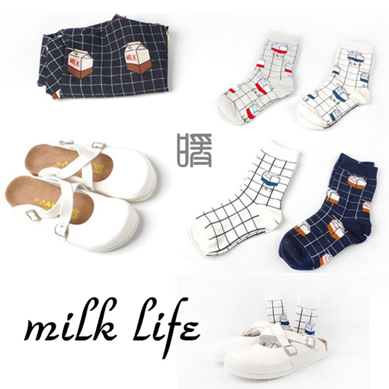 Womens Kawaii Milk Box Long Socks  2015 New Korean Women Creative Cartoon Tube Sock Cute Winter Autumn Cotton Socks