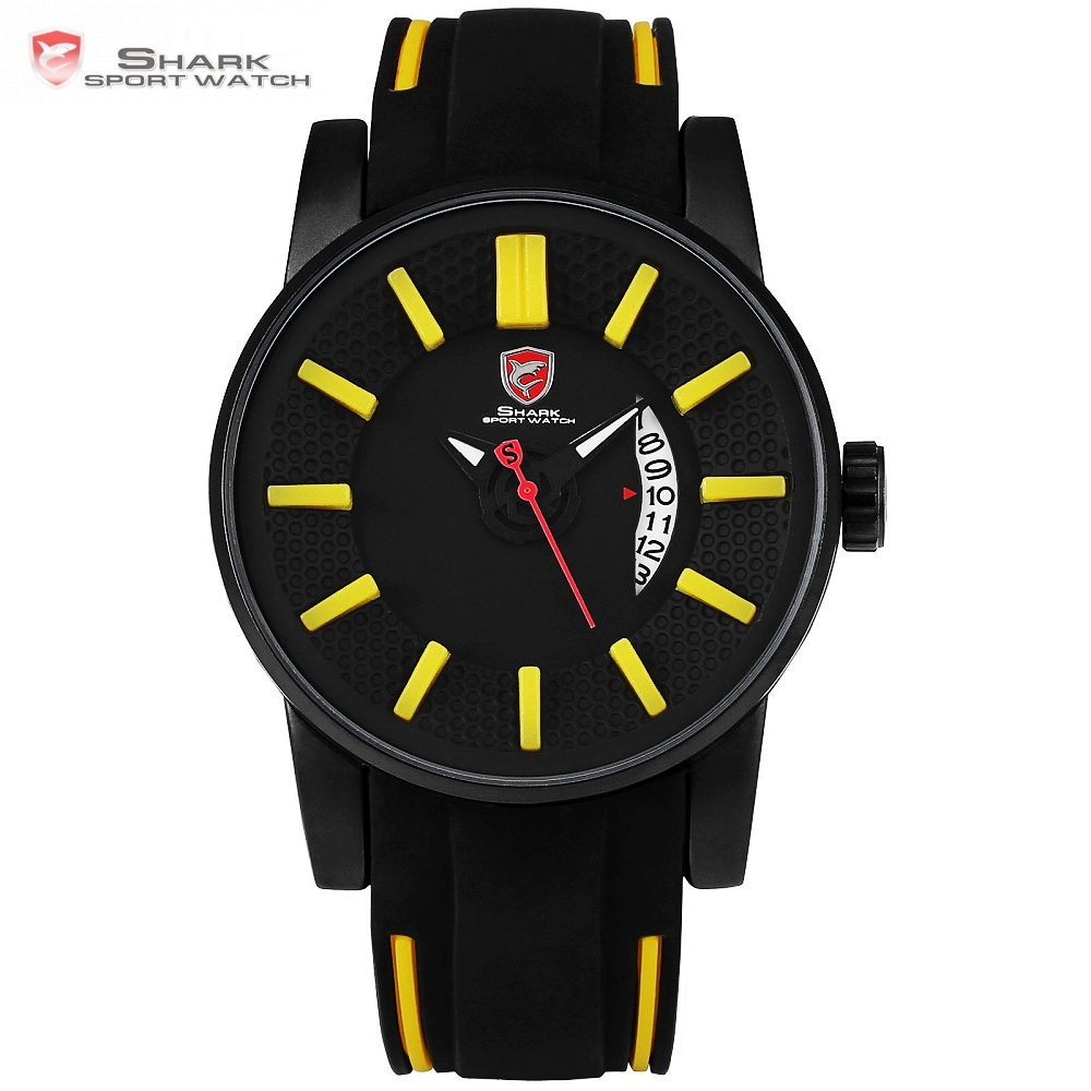 Grey Reef Shark Sport Watch 3D Face Yellow Analog Design Date Silicone Luxury Quartz Clock Man Watches Relogios Masculino /SH479