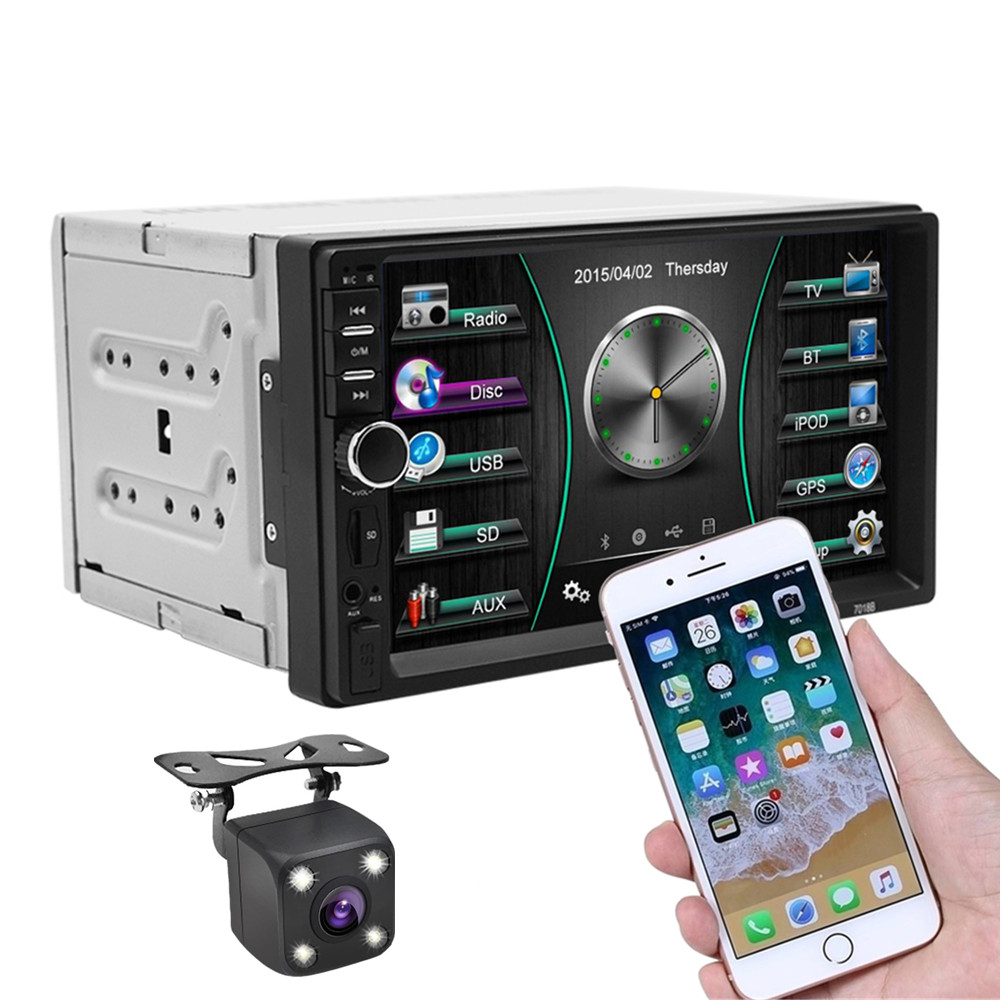 2 Din 7 pouces autoradio stéréo voiture MP4 MP5 lecteur FM Bluetooth miroir lien commande au volant avec caméra arrière de voiture