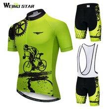 Weimostar 2020 ขี่จักรยานJERSEYชุดชายแขนสั้นMTBจักรยานเสื้อผ้าRopa CiclismoทีมDownhillจักรยานJERSEY Maillot Ciclismo