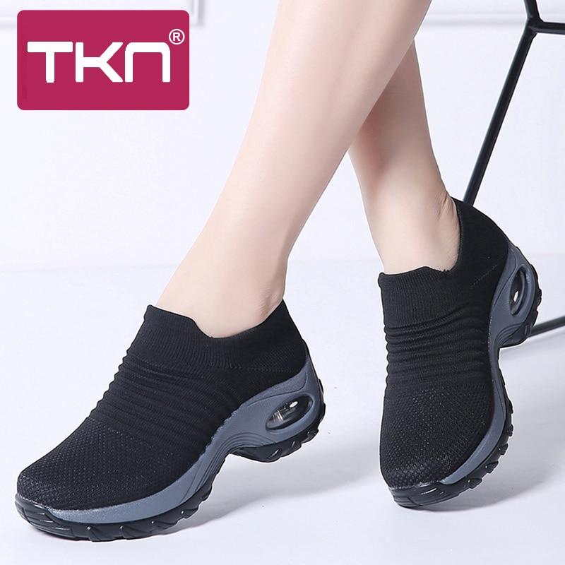 cd0b139ad4e 2019 Spring Women Sneakers Tenis Feminino Creepers Mesh Slip on Sock Flats  Platform Shoes Ladies Flat