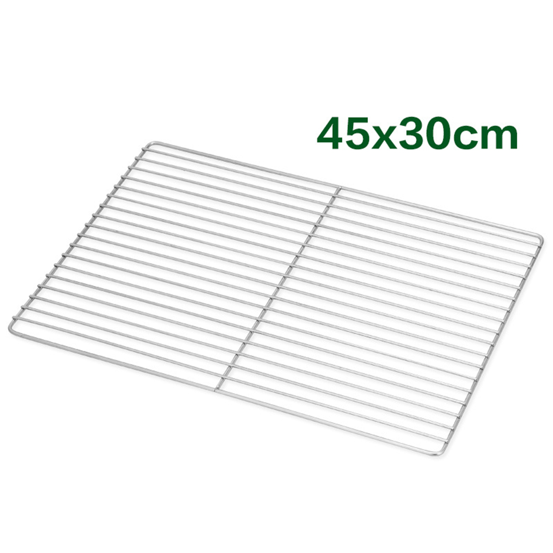 1pcs Outdoor Cooking BBQ Barbecue Tools Nonstick Stainless Steel Rectangle Shape Holes Grilling Wire Mesh For The Grill - Silver