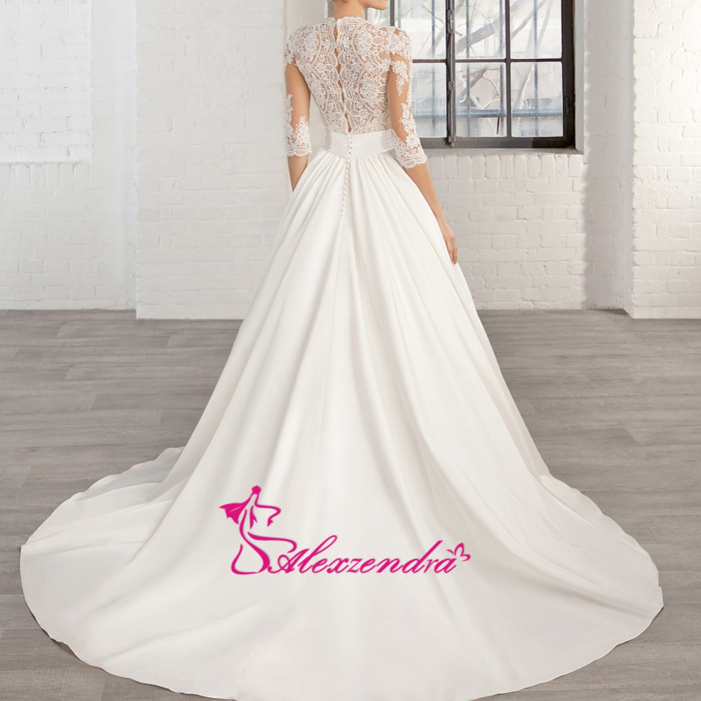Alexzendra Short Sleeves Lace Wedding Dress 2019 Customize
