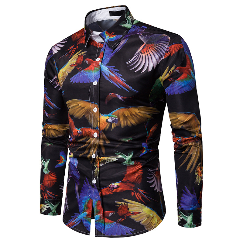 Image 2 - 3D Parrot Animal Print Shirt Men 2019 Fashion Slim Fit Long Sleeve Shirt Men Business Casual Button Down Shirts Camia Masculina-in Casual Shirts from Men's Clothing
