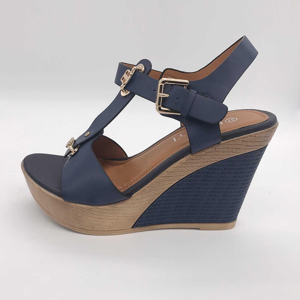 efd062d2afd ... HEYIYI Shoes Women Sandals T-Strap High Heels Wedges Platform Blue Camel  Color Fashion Adjustable ...