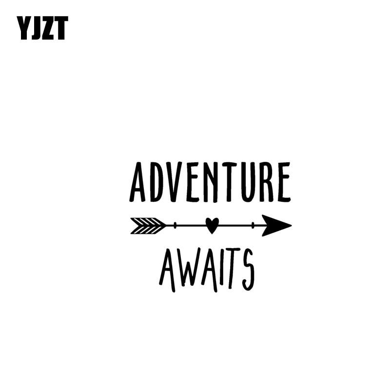 YJZT 17.8CM*17.1CM ADVENTURE AWAITS Vinyl Motorcycle Originality Car Sticker Decals Black/Silver C13-000432