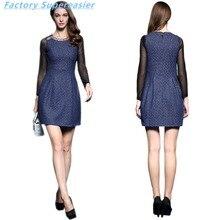 Sexy Lace Women Short Dress Vestidos 2016 Full Sleeve Rhinestone O-Neck Empire Waist Lady Party Mini Dresses Plus Size 3XL