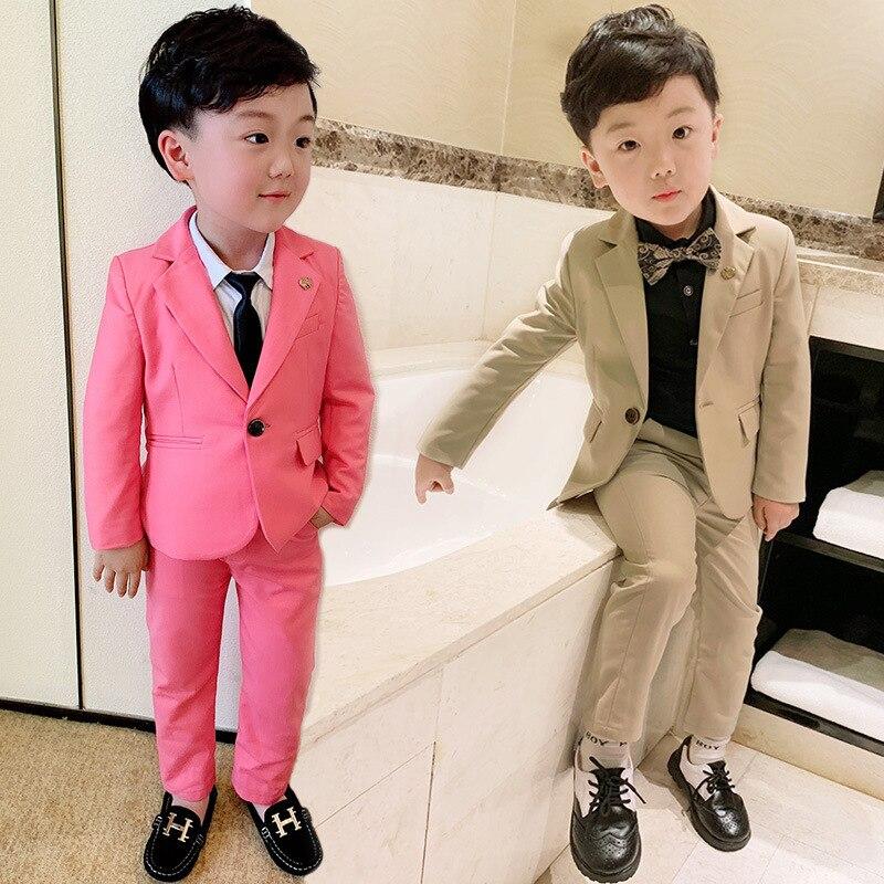2Pcs Handsome Kids Boys Gentleman Wedding Party Suit Coat+Pants Clothes Outfits