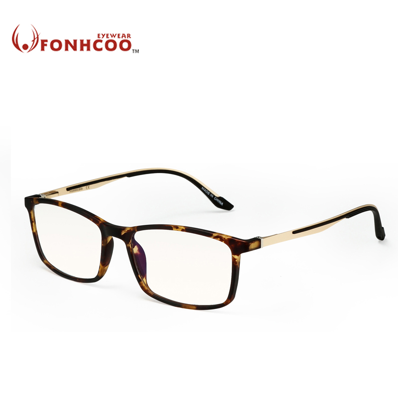FONHCOO TR Frame Men Square Optical Computer Glasses Anti blue Light Blocking Glasses Filter Anti eye fatigue Sleeping Better blue light blocking glasses