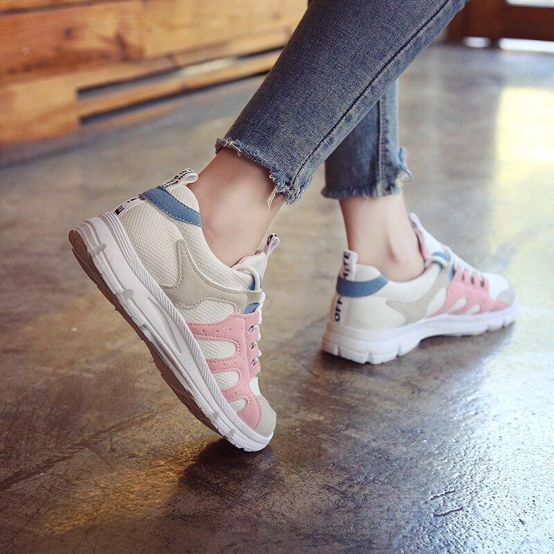 64cb774c335 Green Salvajes Plano Fondo Estudiantes pink Casuales La Versión Zapatillas  Las Luz Harajuku Nuevos Zapatos De Transpirable Coreana Mujeres ...
