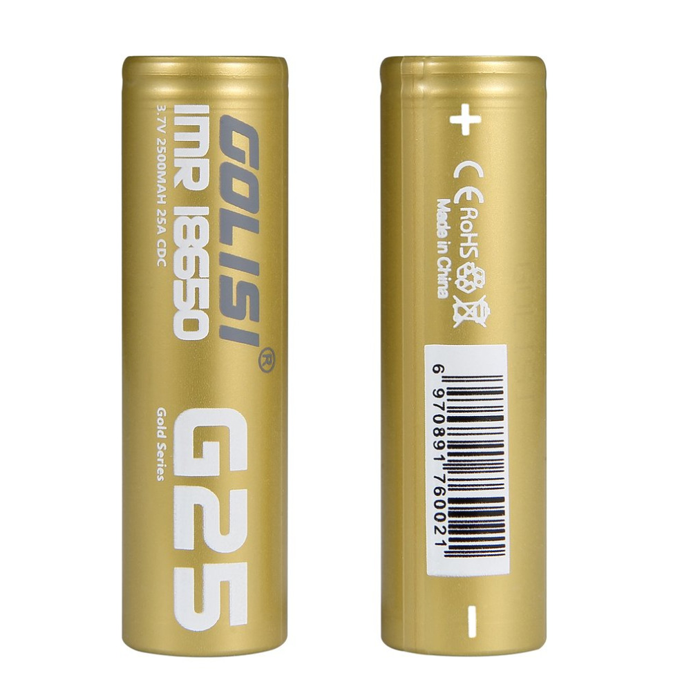 2PCS GOLISI G25 High Drain Li-ion 18650 Rechargeable Batteries 3.7V 25A 2500mAh Battery for E-cig Mods/ Flash Lights/ Toys